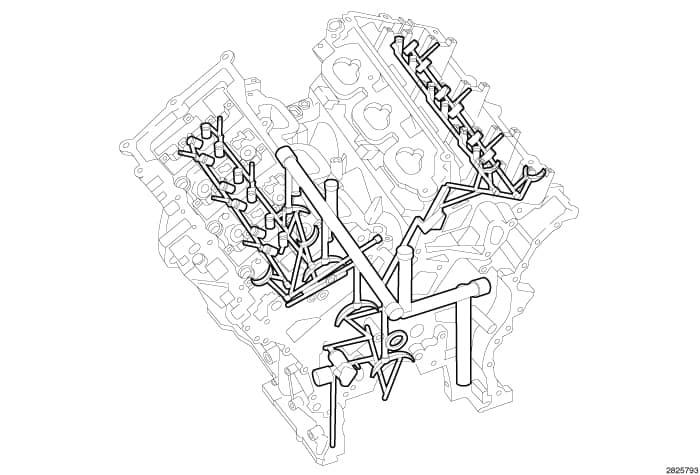 Общая схема смазки двигателя Пентастар 3.6