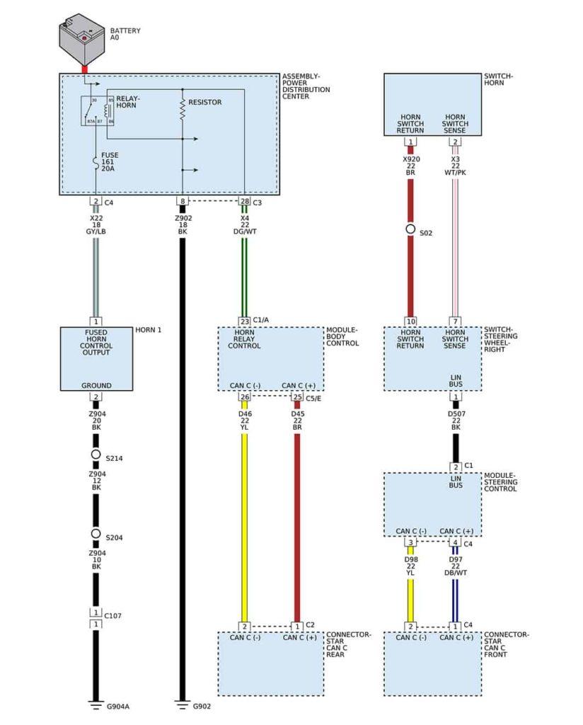 Схема включения звукового сигнала Додж Джорни